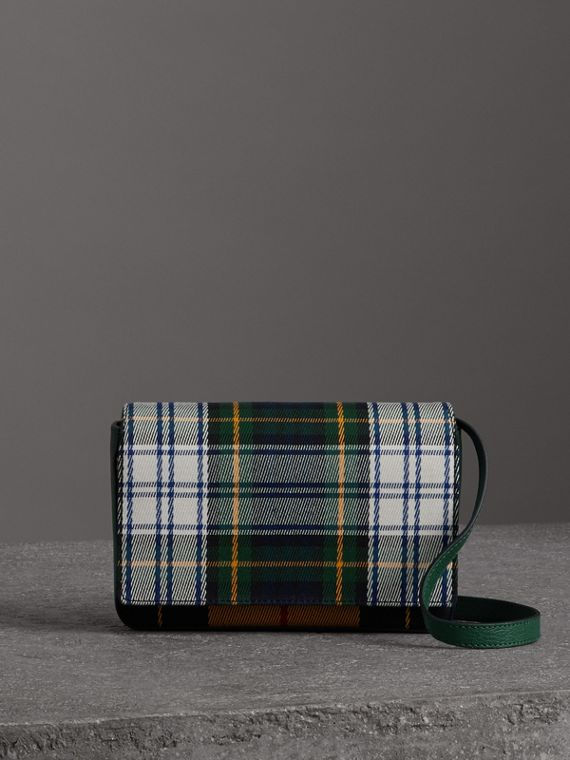 Tartan and Leather Wallet with Detachable Strap in Green/multicolour