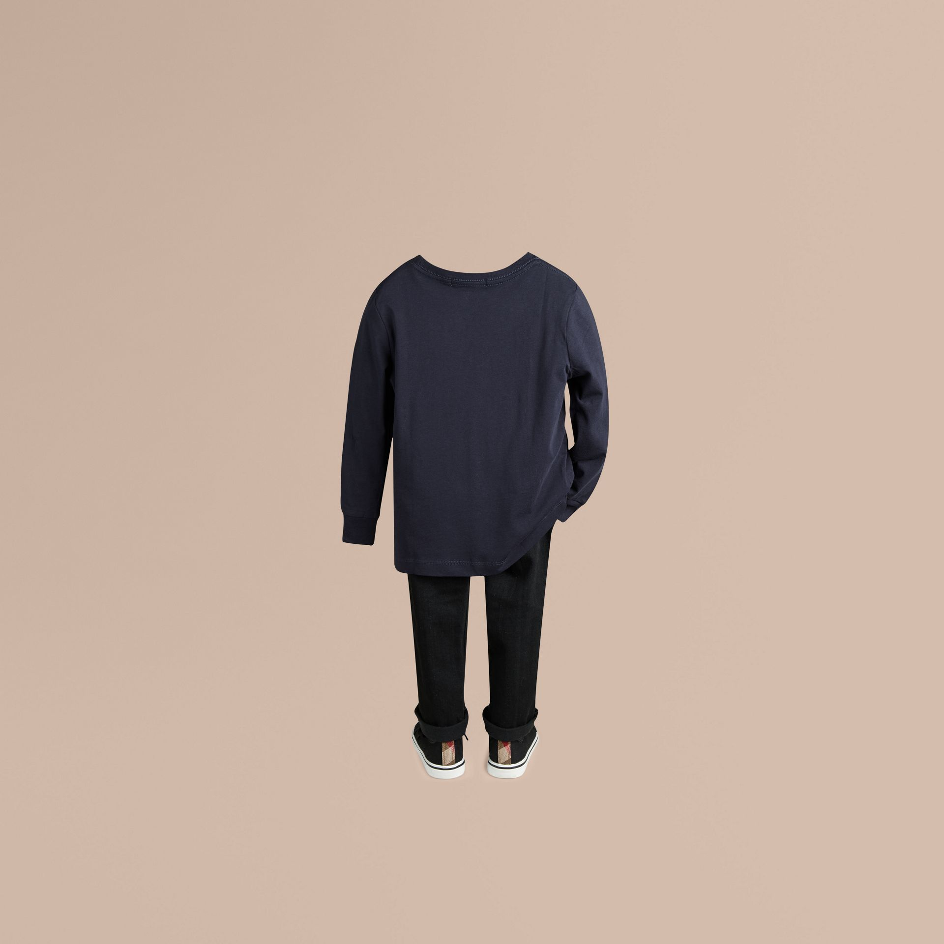 Long-sleeve Check Pocket Cotton T-shirt in True Navy - gallery image 3