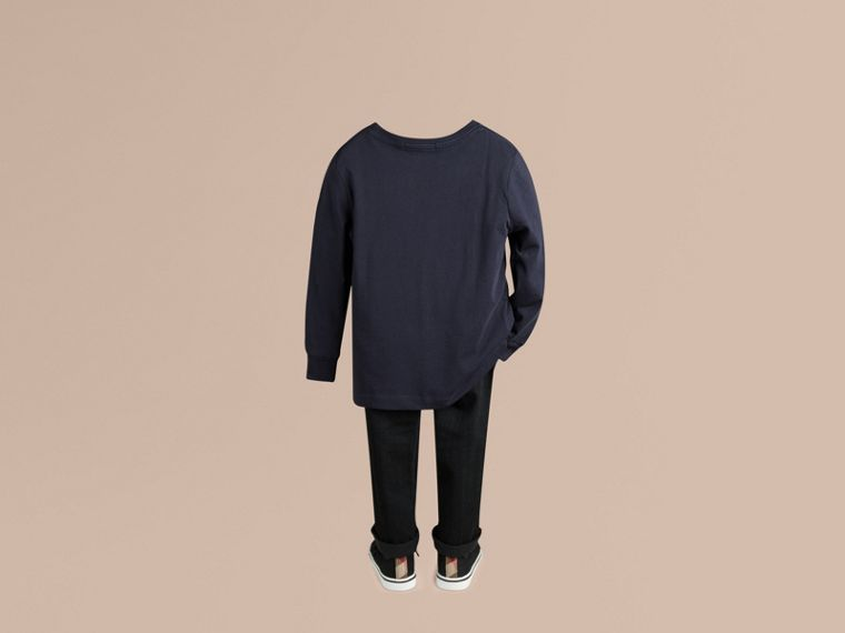 Long-sleeve Check Pocket Cotton T-shirt in True Navy - Boy | Burberry - cell image 2