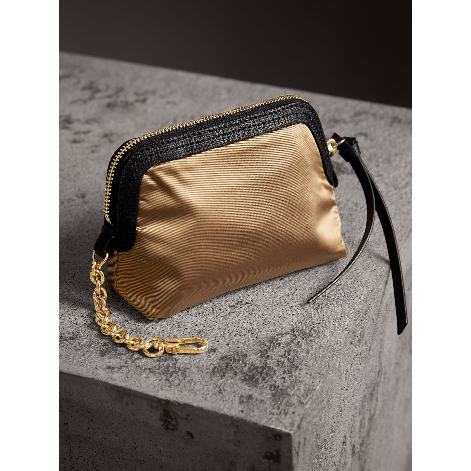 Small Zip-top Leather-trimmed Technical Nylon Pouch in Gold/black - Women | Burberry - gallery image 3