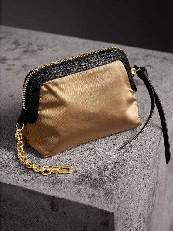 Small Zip-top Leather-trimmed Technical Nylon Pouch in Gold/black - Women | Burberry - cell image 2