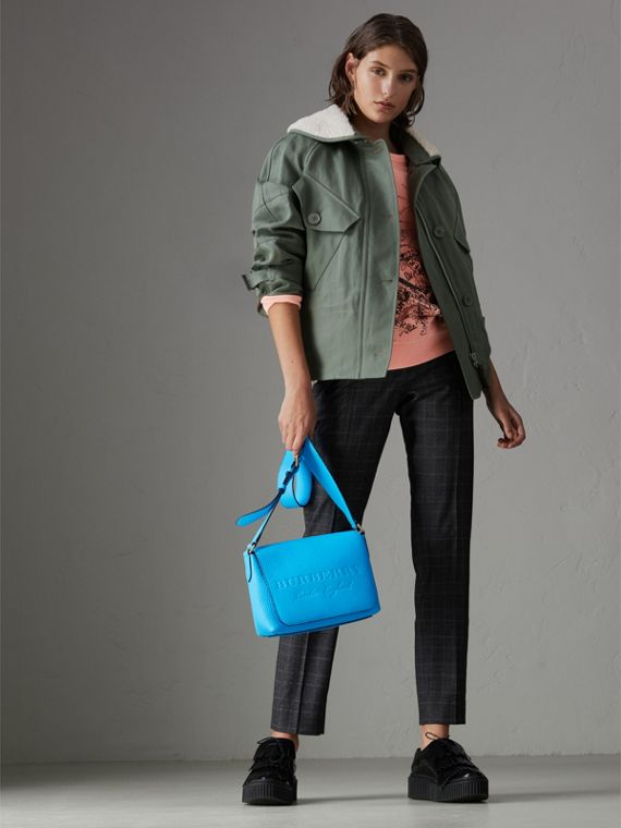 Small Embossed Neon Leather Messenger Bag in Blue | Burberry - cell image 2