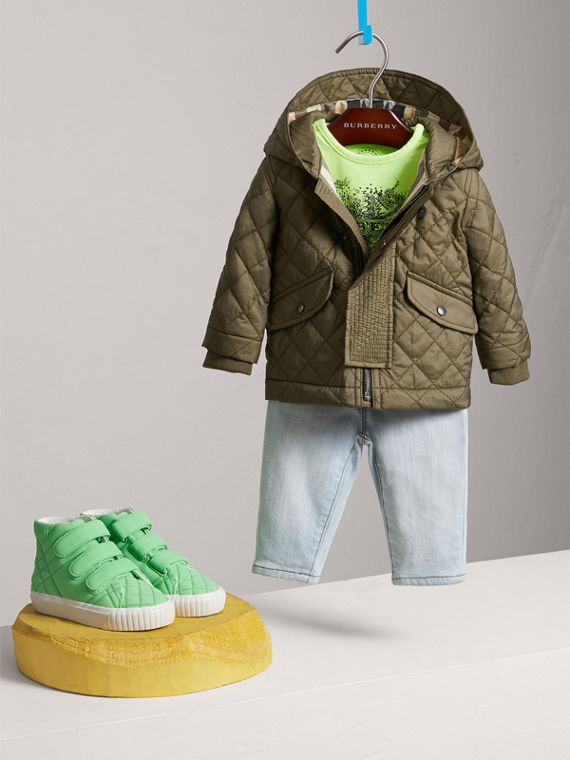 Hooded Diamond Quilted Jacket in Olive | Burberry United Kingdom - cell image 2