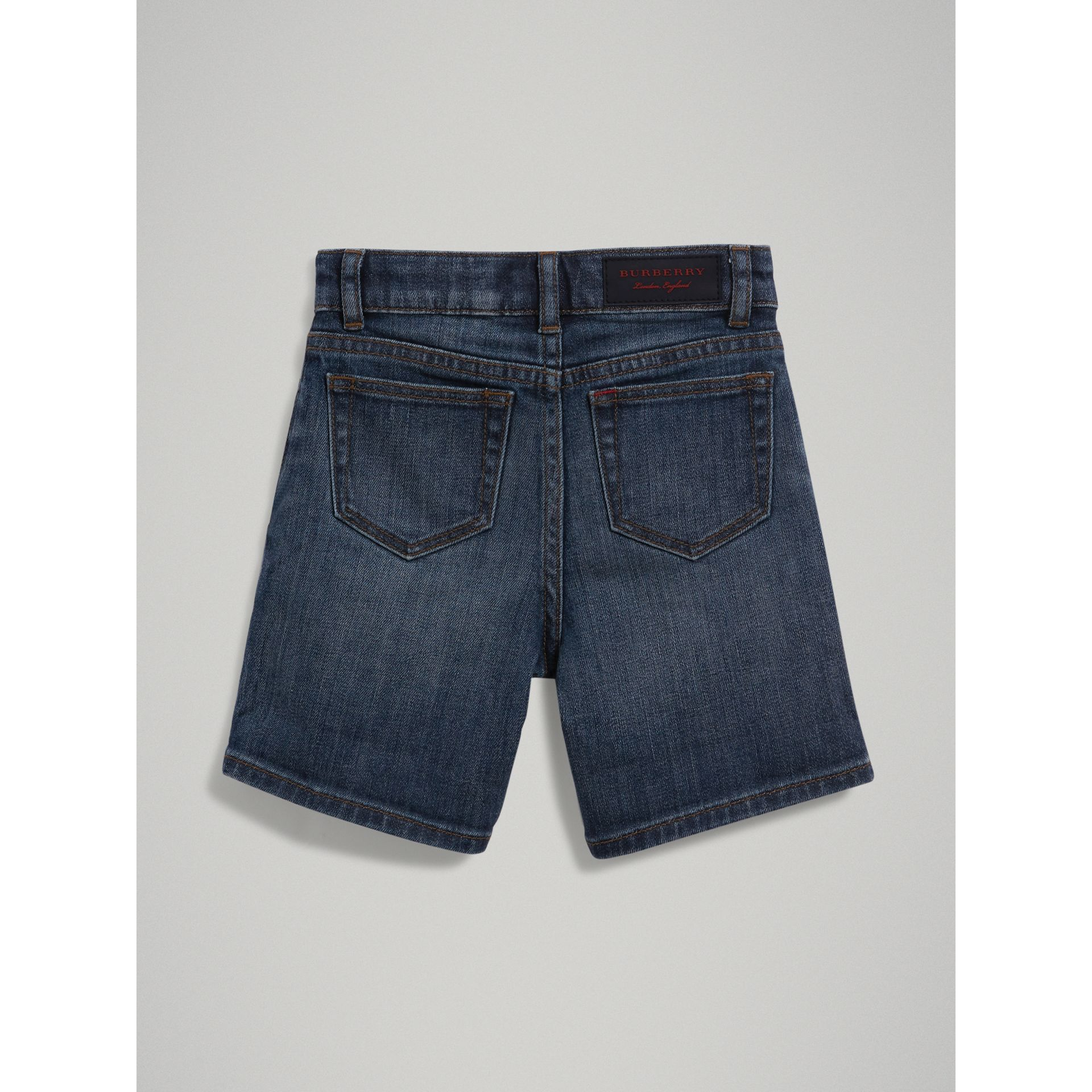 Relaxed Fit Stretch Denim Shorts in Mid Indigo | Burberry - gallery image 3