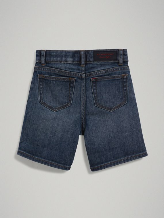 Relaxed Fit Stretch Denim Shorts in Mid Indigo - Boy | Burberry Hong Kong - cell image 3