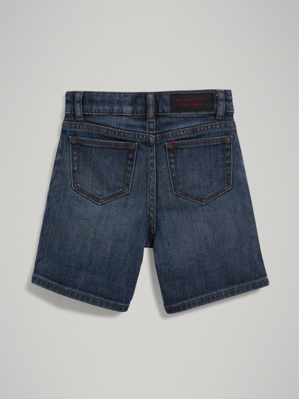 Relaxed Fit Stretch Denim Shorts in Mid Indigo | Burberry - cell image 3