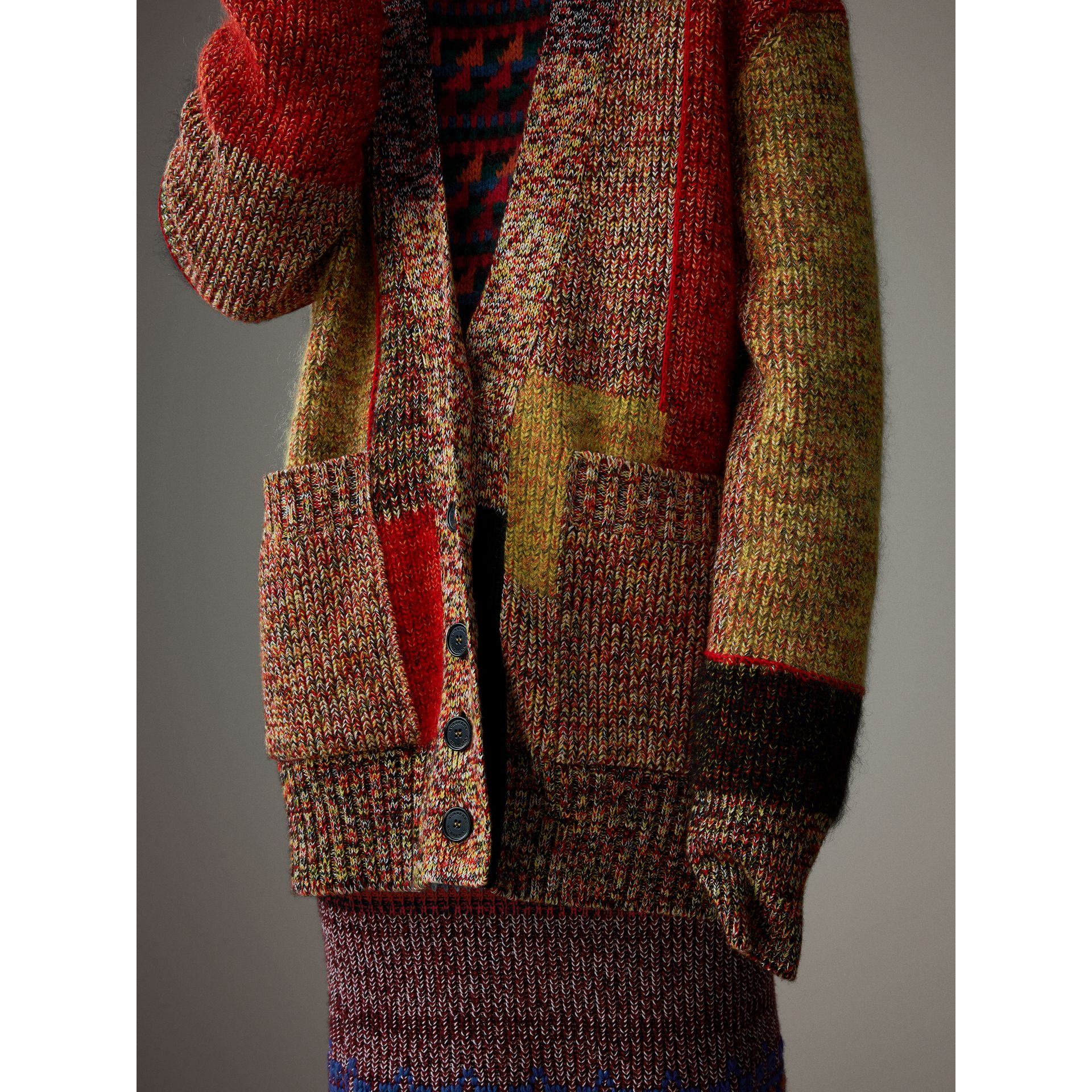 Wool Linen Mohair Blend Mouliné Oversized Cardigan in Multicolour - Women | Burberry - gallery image 5