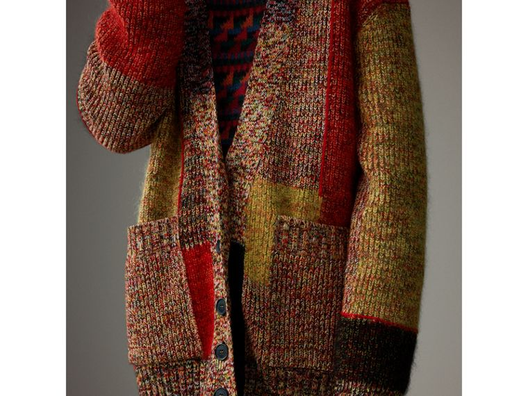 Wool Linen Mohair Blend Mouliné Oversized Cardigan in Multicolour - Women | Burberry - cell image 4