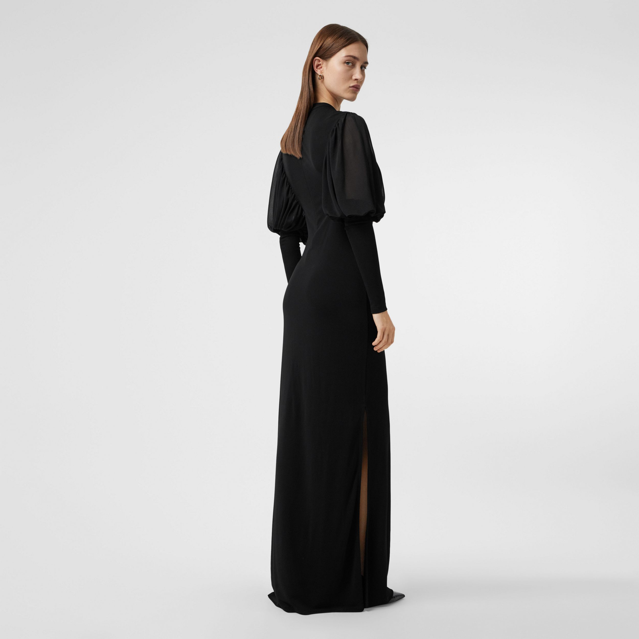 Puff-sleeve Jersey Gown in Black - Women | Burberry - 3