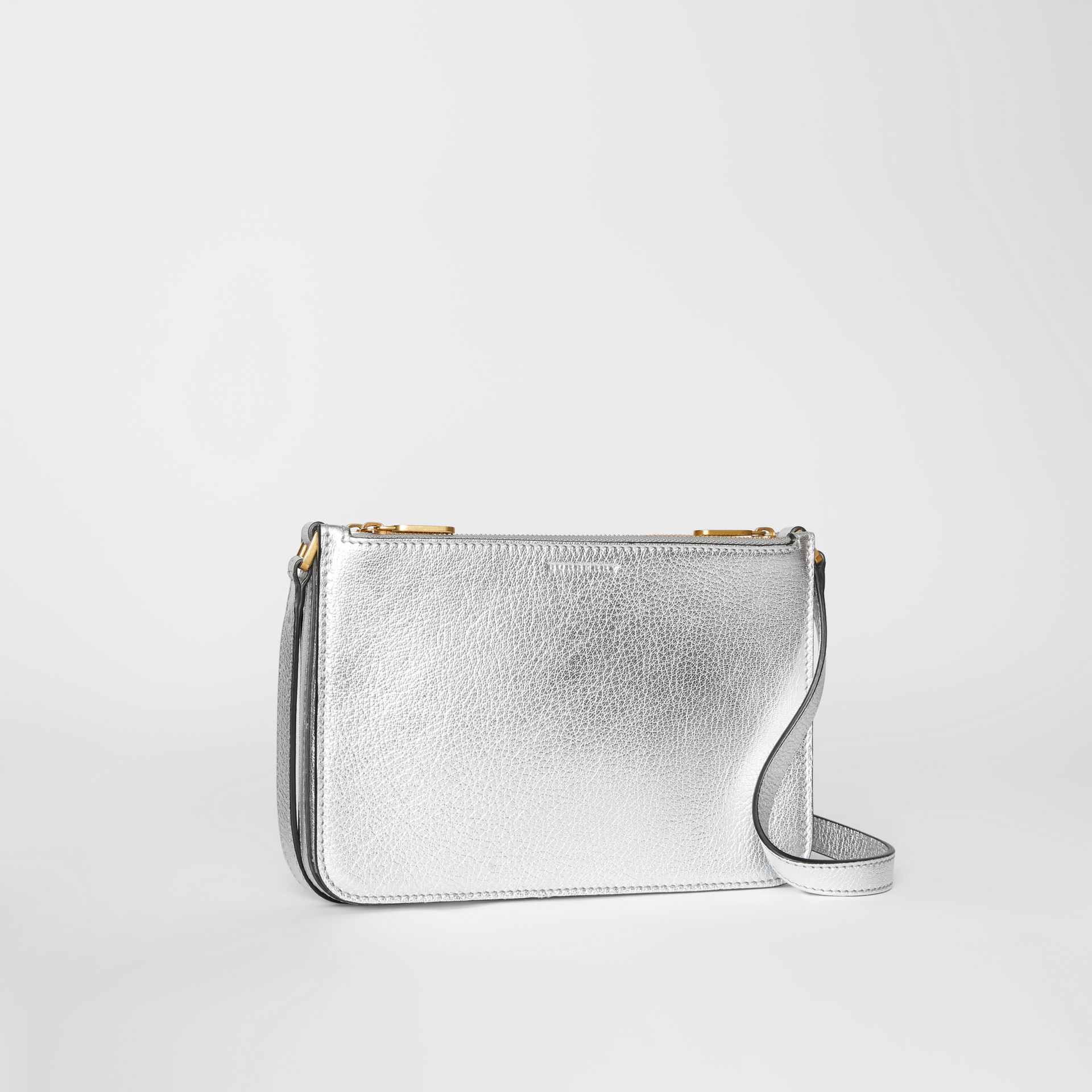 Triple Zip Metallic Leather Crossbody Bag in Silver - Women | Burberry - gallery image 6