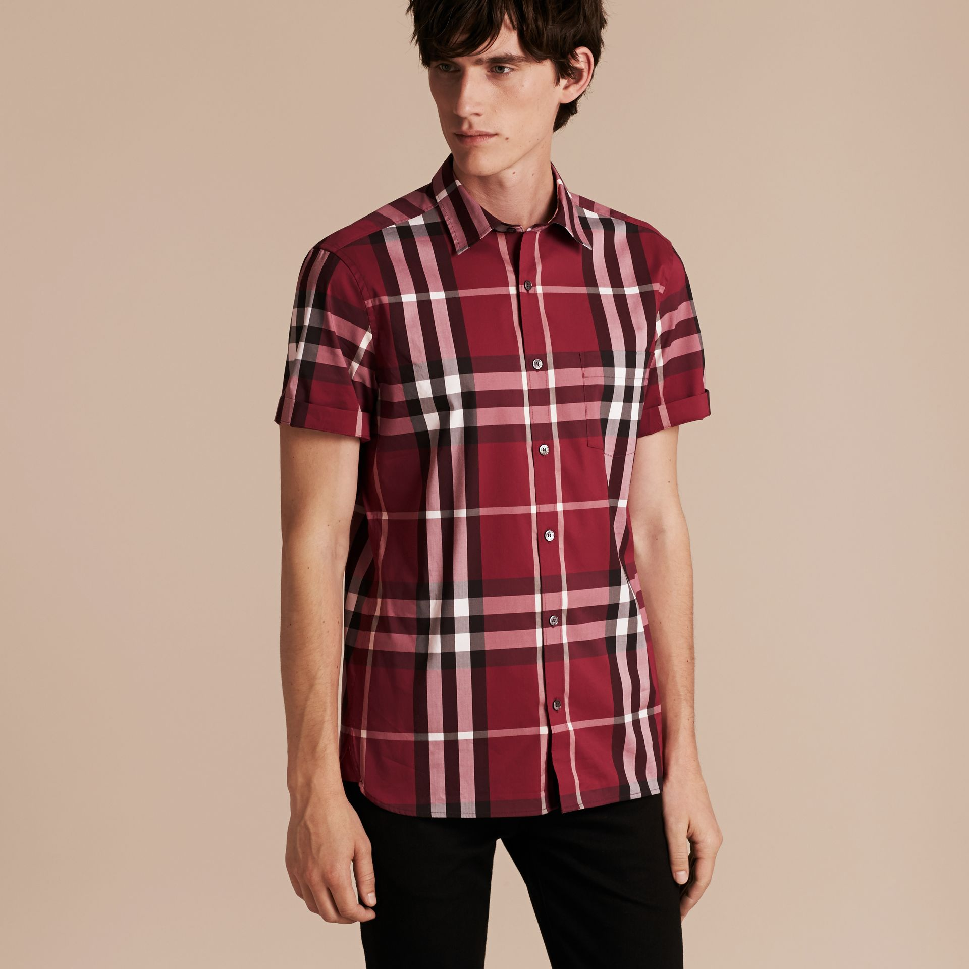 Short-sleeved Check Stretch Cotton Shirt in Plum Pink - Men | Burberry - gallery image 6