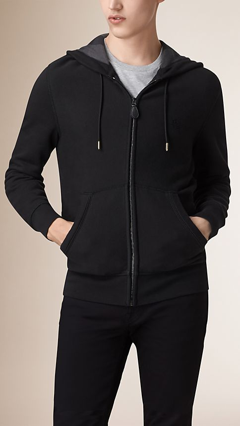 Black Hooded Cotton Jersey Top - Image 2