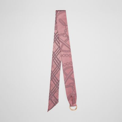 D Ring Detail Chain Silk Jacquard Skinny Scarf by Burberry
