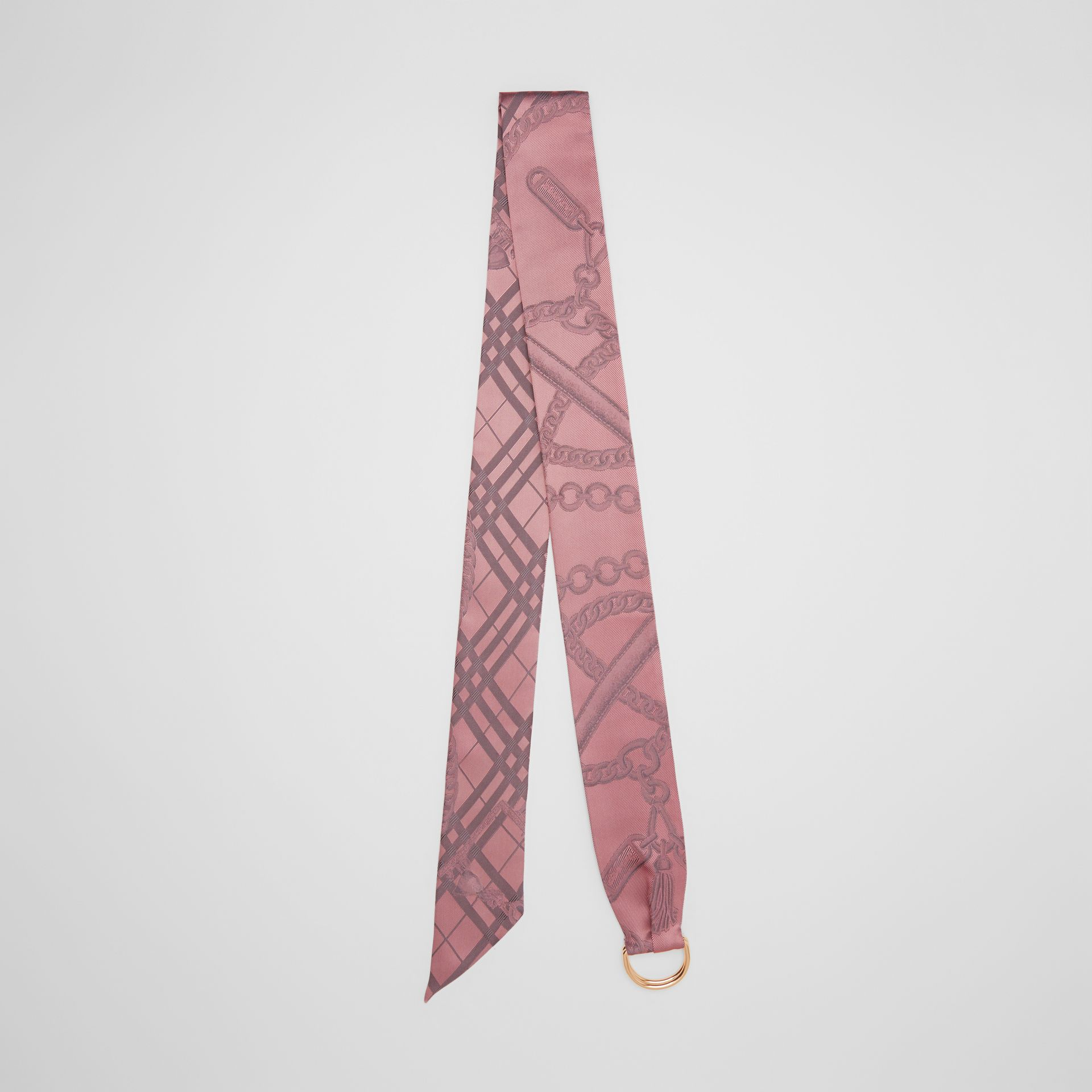 D-ring Detail Chain Silk Jacquard Skinny Scarf in Pale Rose | Burberry - gallery image 0