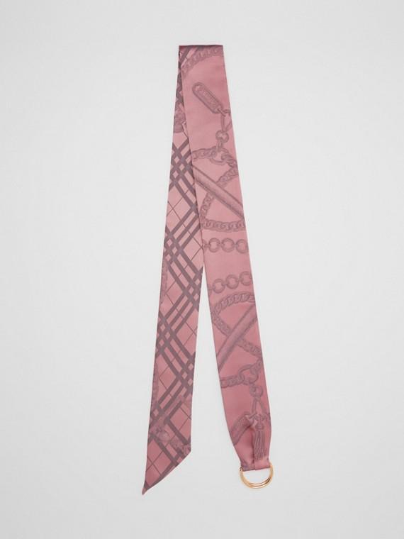 Skinny scarf de seda em jacquard com detalhe de corrente e argola em D (Rosa Claro)