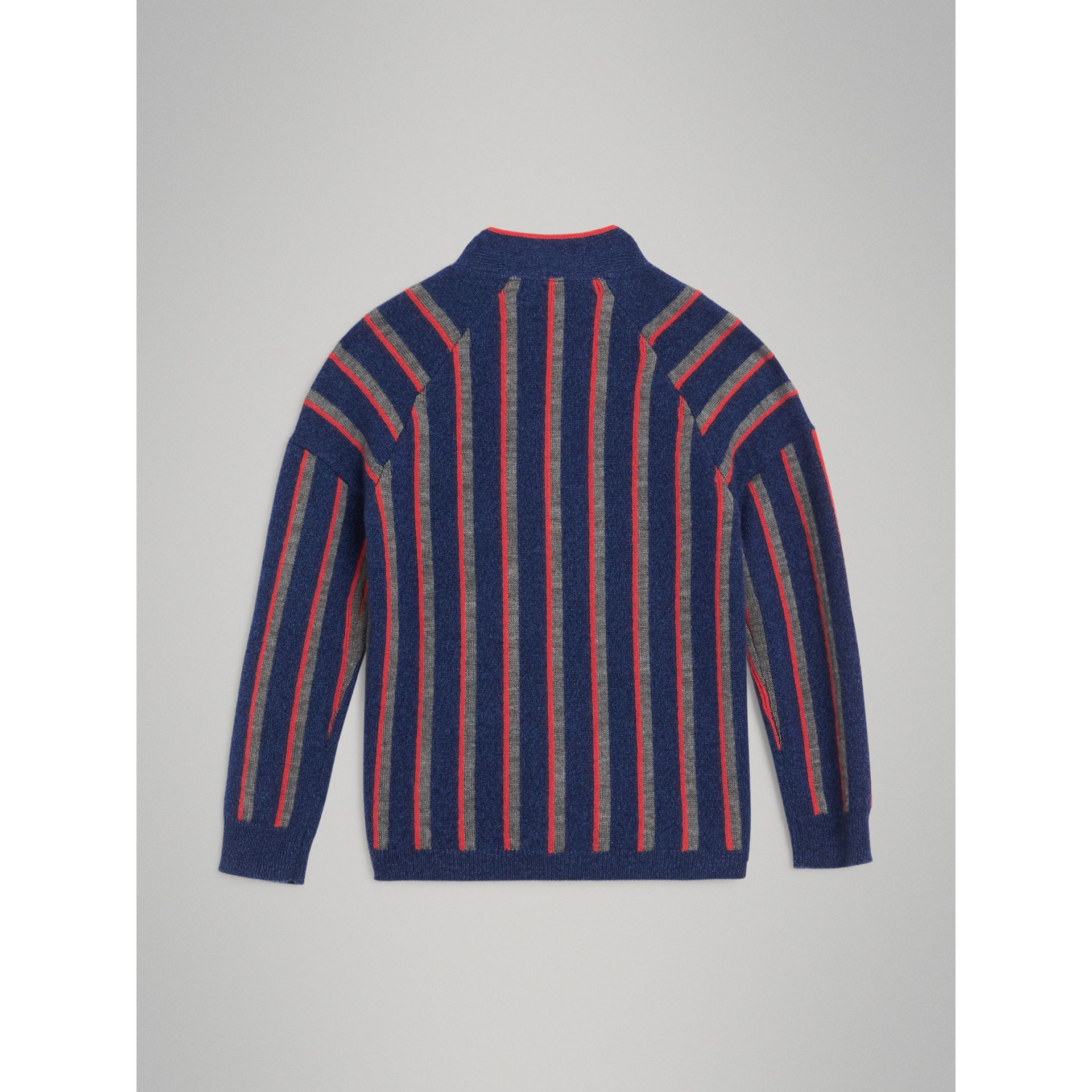 Striped Cashmere Wool Cardigan in Dark Canvas Blue | Burberry - gallery image 3