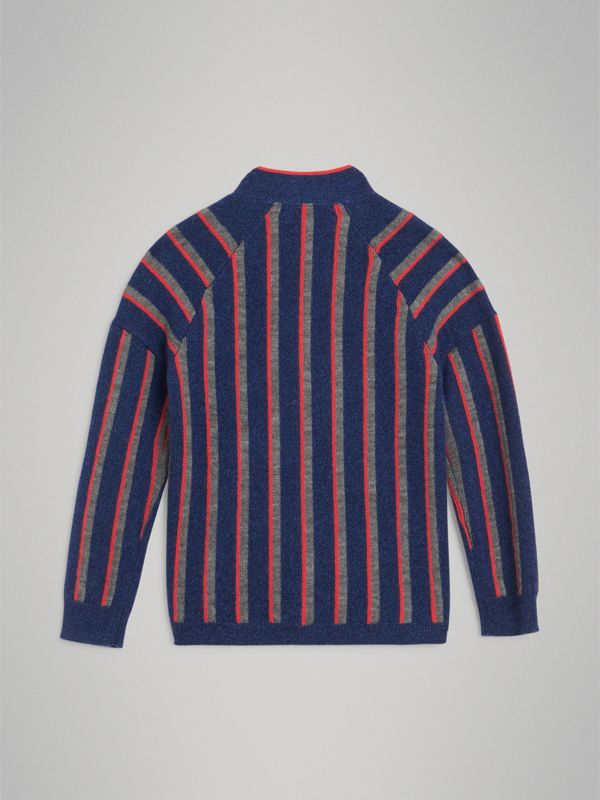 Striped Cashmere Wool Cardigan in Dark Canvas Blue | Burberry - cell image 3
