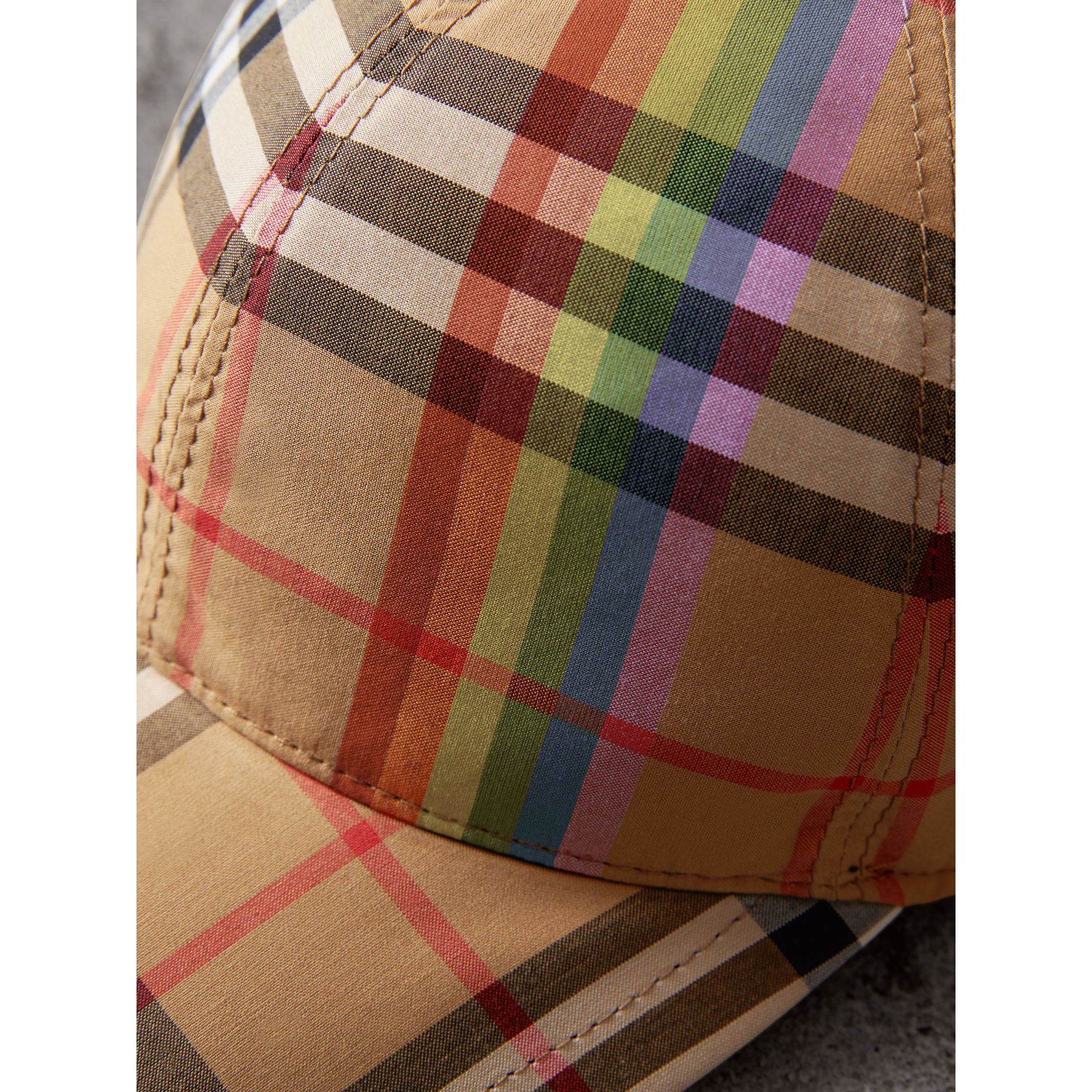 Rainbow Vintage Check Baseball Cap in Antique Yellow/rainbow | Burberry Australia - gallery image 1