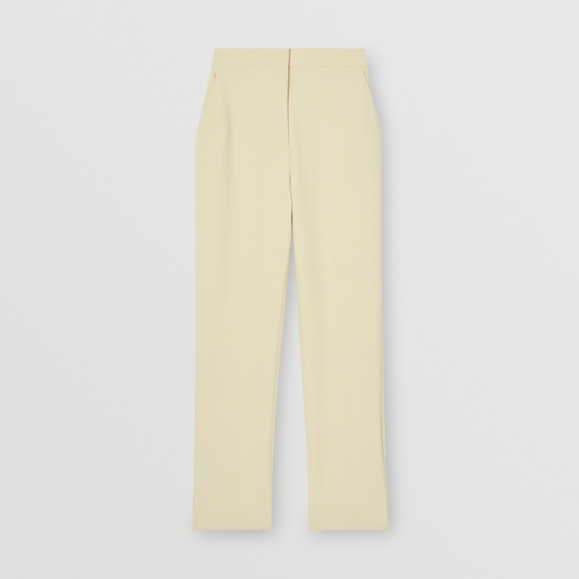 Straight Fit Stretch Wool Tailored Trousers in Pale Ochre - Women | Burberry - gallery image 3