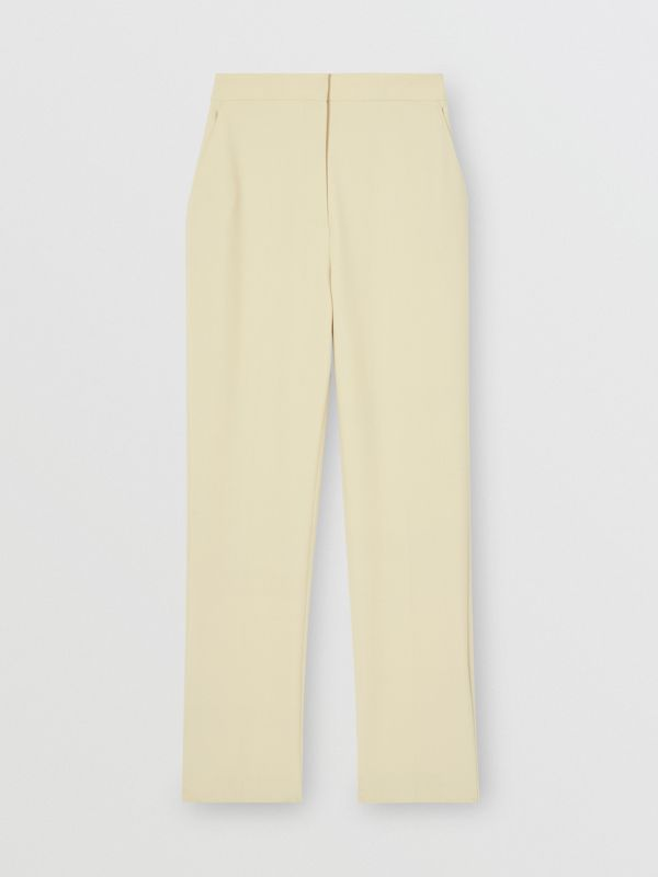Straight Fit Stretch Wool Tailored Trousers in Pale Ochre - Women | Burberry - cell image 3