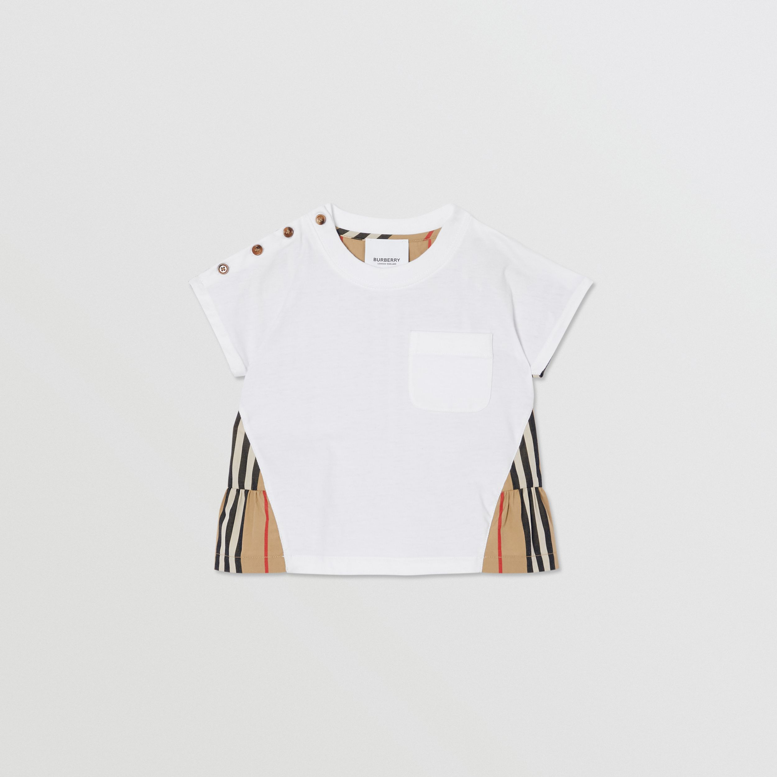 Icon Stripe Panel Cotton T-shirt in White/archive Beige - Children | Burberry United States - 1