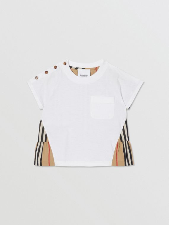 Icon Stripe Panel Cotton T-shirt in White/archive Beige