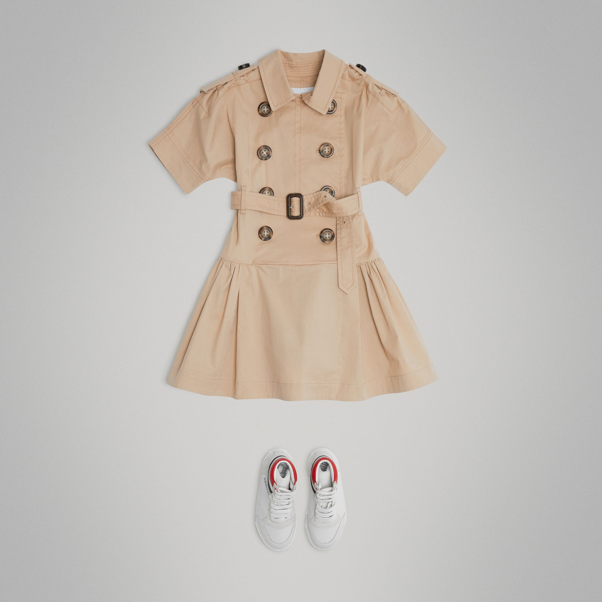 Stretch Cotton Trench Dress in Honey | Burberry - gallery image 2