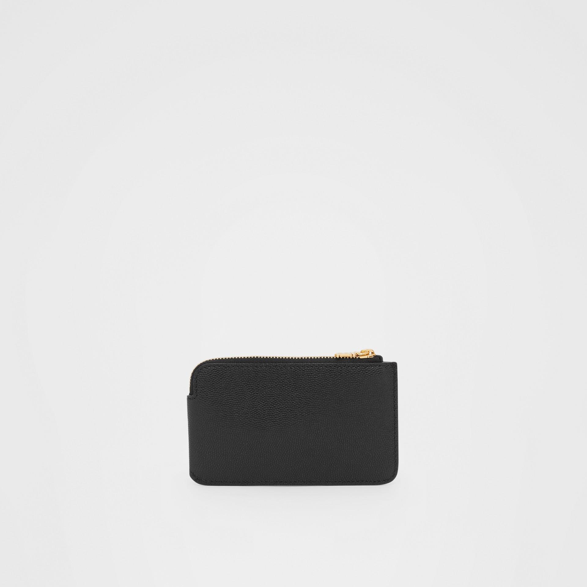 Monogram Motif Grainy Leather Zip Coin Case in Black - Women | Burberry - gallery image 4
