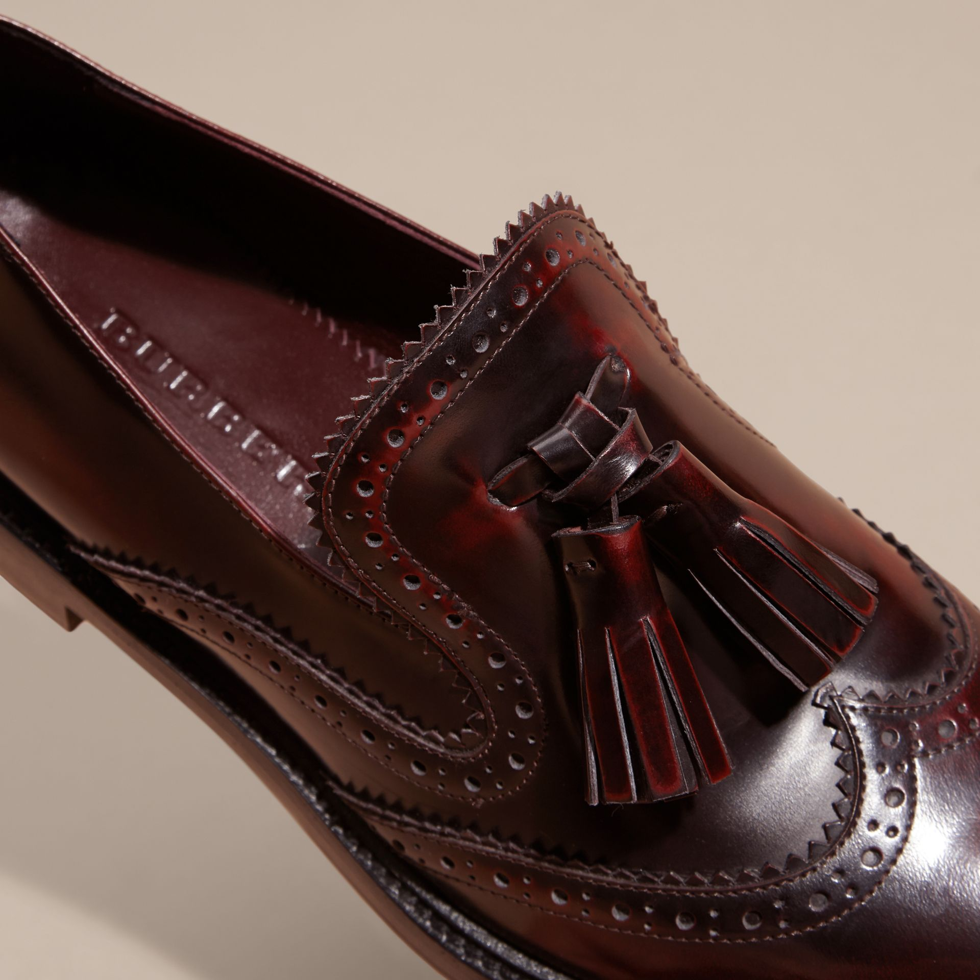 Bordeaux Dégradé Tassel Detail Leather Loafers - gallery image 2