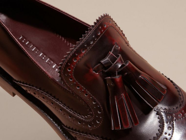 Bordeaux Dégradé Tassel Detail Leather Loafers - cell image 1