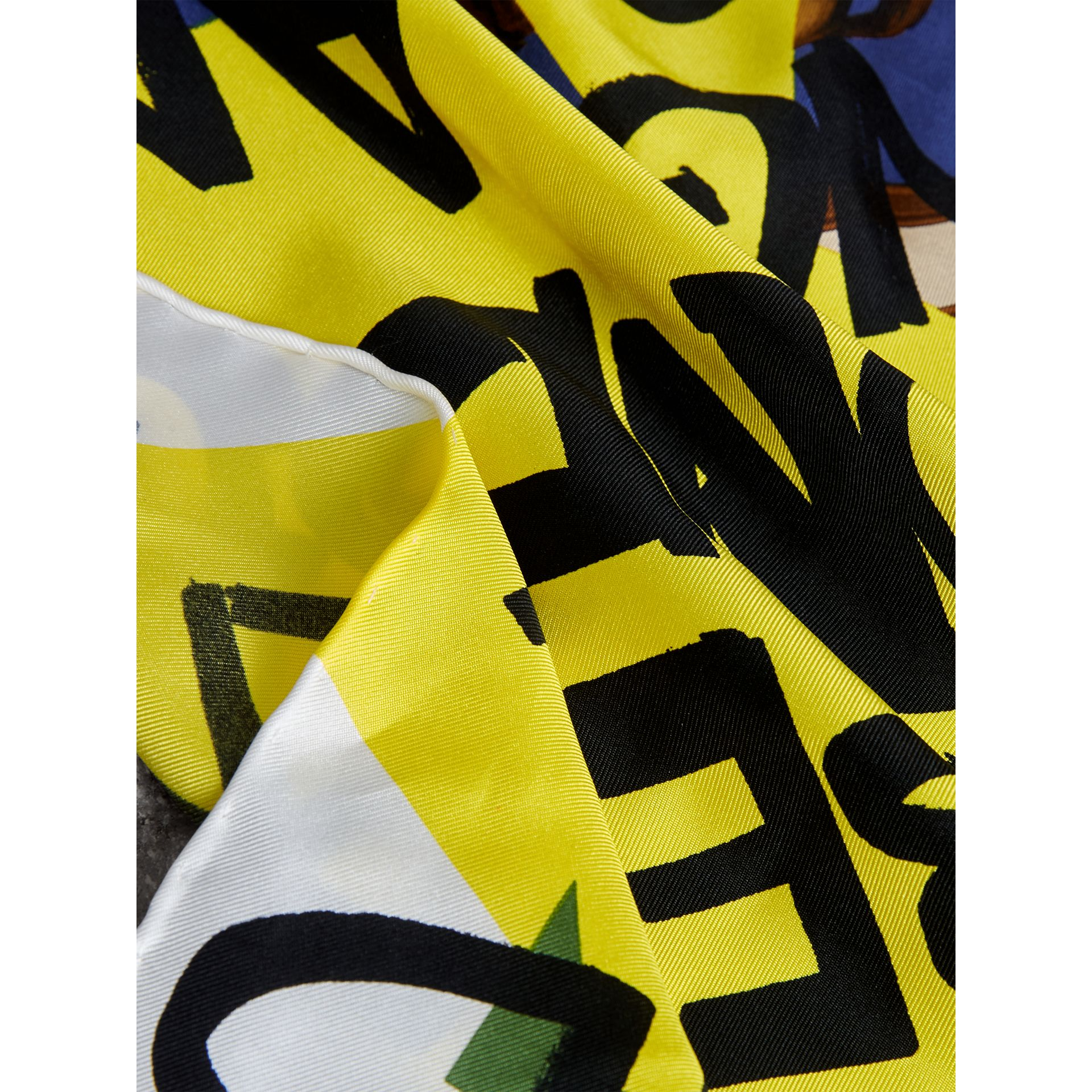 Graffiti Archive Scarf Print Silk Square Scarf in Bright Yellow | Burberry - gallery image 1