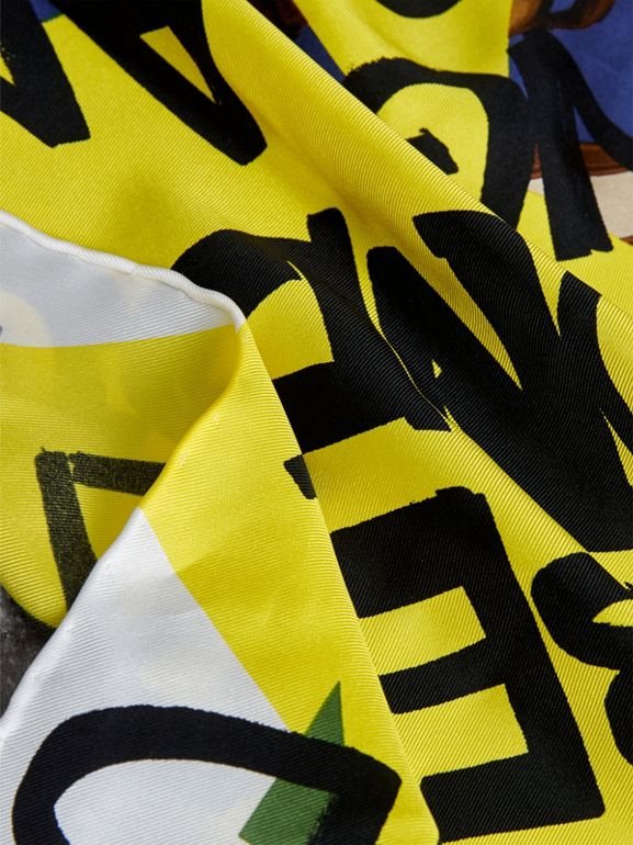 Graffiti Archive Scarf Print Silk Square Scarf in Bright Yellow | Burberry - cell image 1