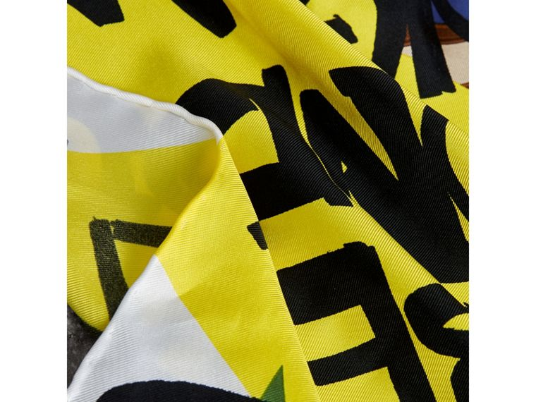 Graffiti Archive Scarf Print Silk Square Scarf in Bright Yellow | Burberry Singapore - cell image 1