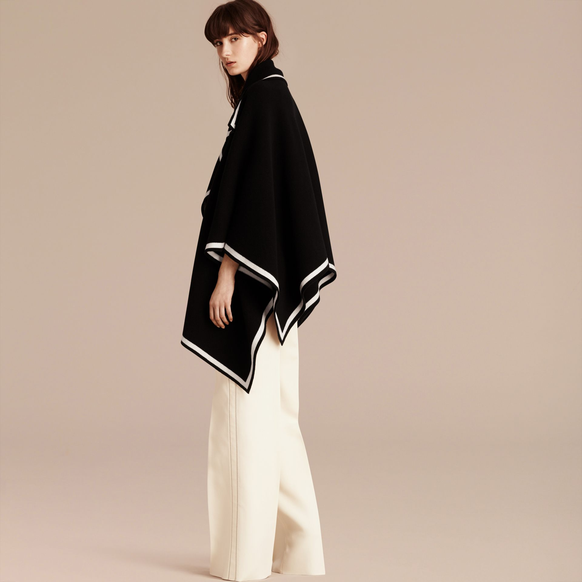 Black/natural white Wool Cashmere Blend Poncho Black/natural White - gallery image 3