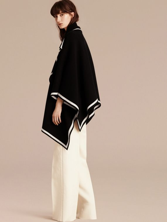 Black/natural white Wool Cashmere Blend Poncho Black/natural White - cell image 2