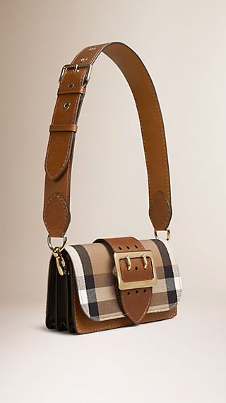 The Small Belt Shoulder Bag in House Check and Leather