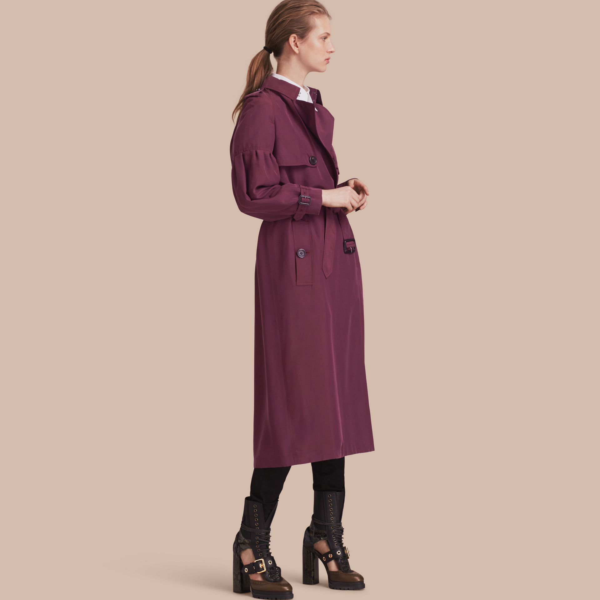 Oversize Silk Trench Coat with Puff Sleeves Burgundy - gallery image 1