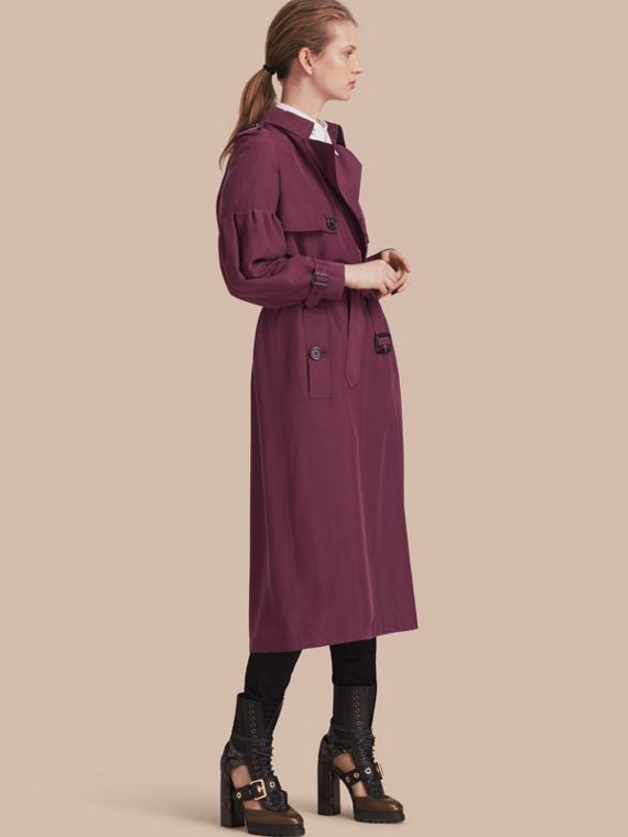 Oversize Silk Trench Coat with Puff Sleeves Burgundy