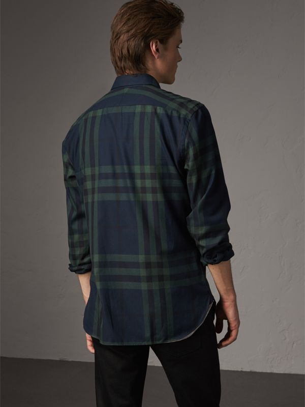 Check Cotton Cashmere Flannel Shirt in Navy - Men | Burberry - cell image 2