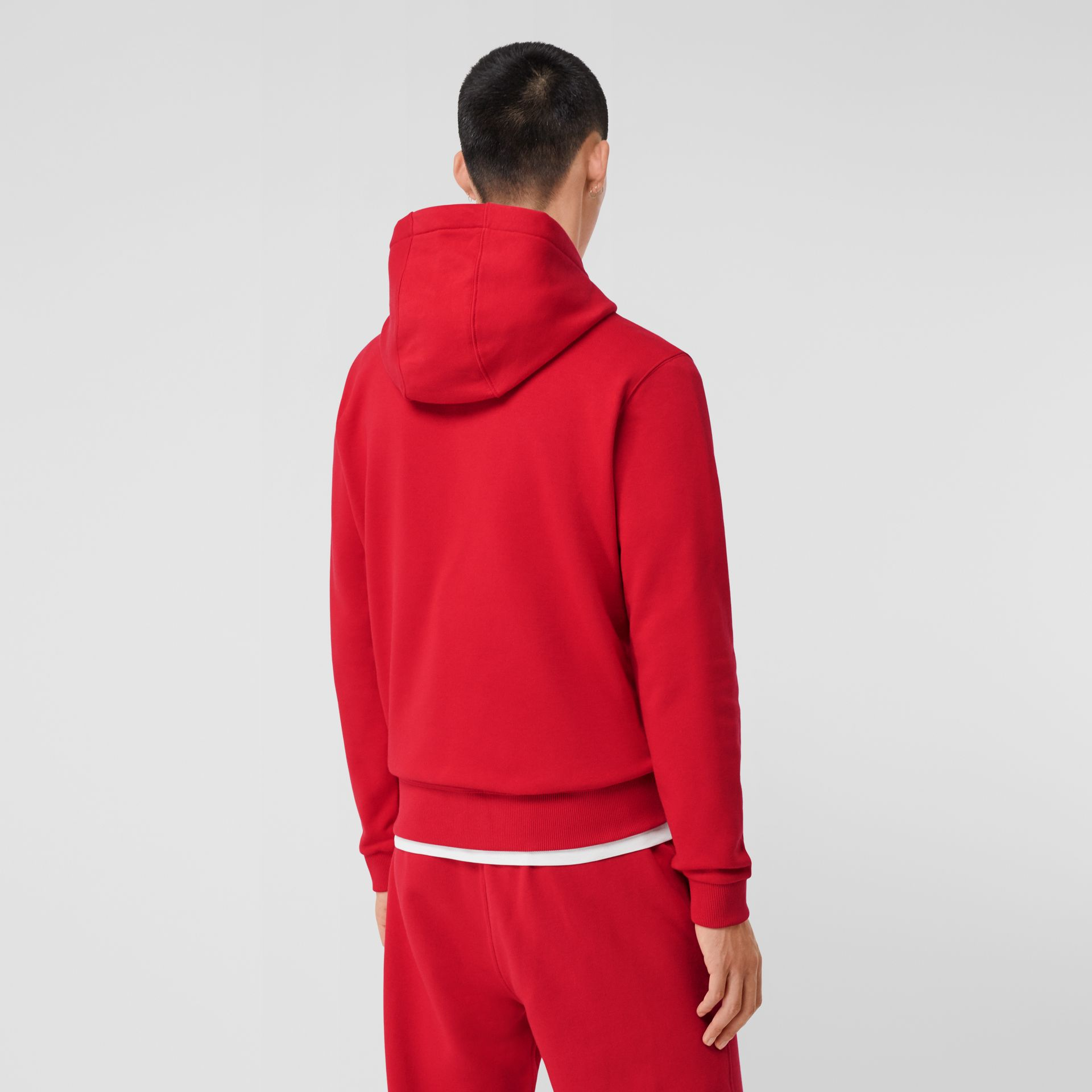 Monogram Motif Cotton Oversized Hoodie in Bright Red - Men | Burberry United Kingdom - gallery image 1