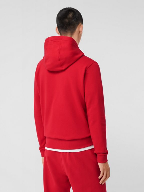 Monogram Motif Cotton Oversized Hoodie in Bright Red - Men | Burberry United Kingdom - cell image 1