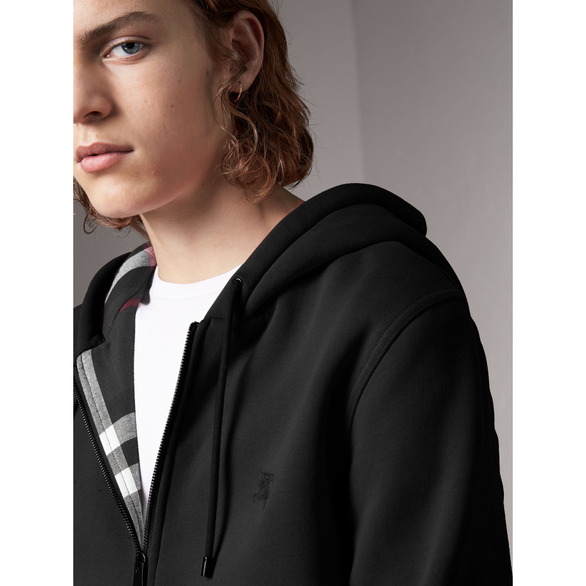 Check Detail Jersey Hooded Top in Black - Men | Burberry Hong Kong - gallery image 1