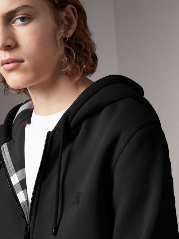 Check Detail Jersey Hooded Top in Black - Men | Burberry Hong Kong - cell image 1