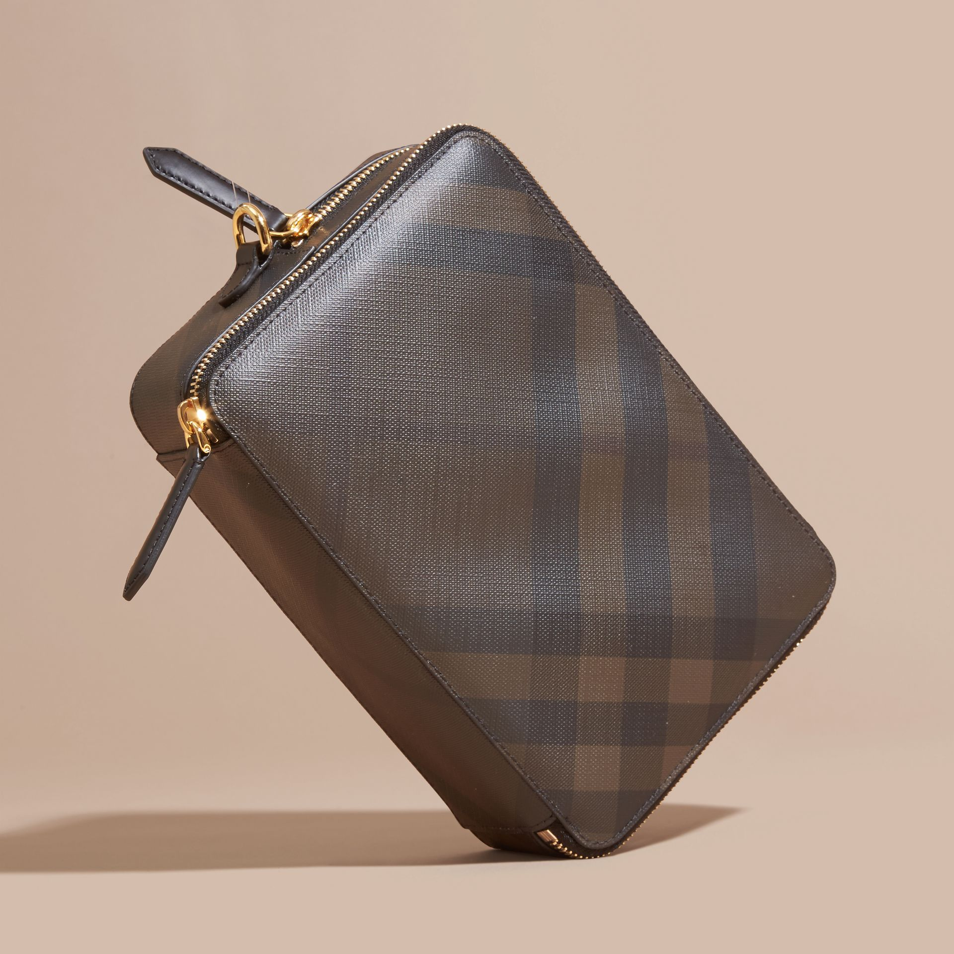 Leather-trimmed London Check Pouch in Chocolate/black - Men | Burberry - gallery image 5