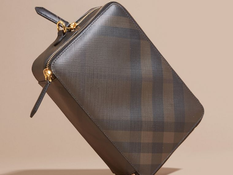 Leather-trimmed London Check Pouch in Chocolate/black - Men | Burberry - cell image 4