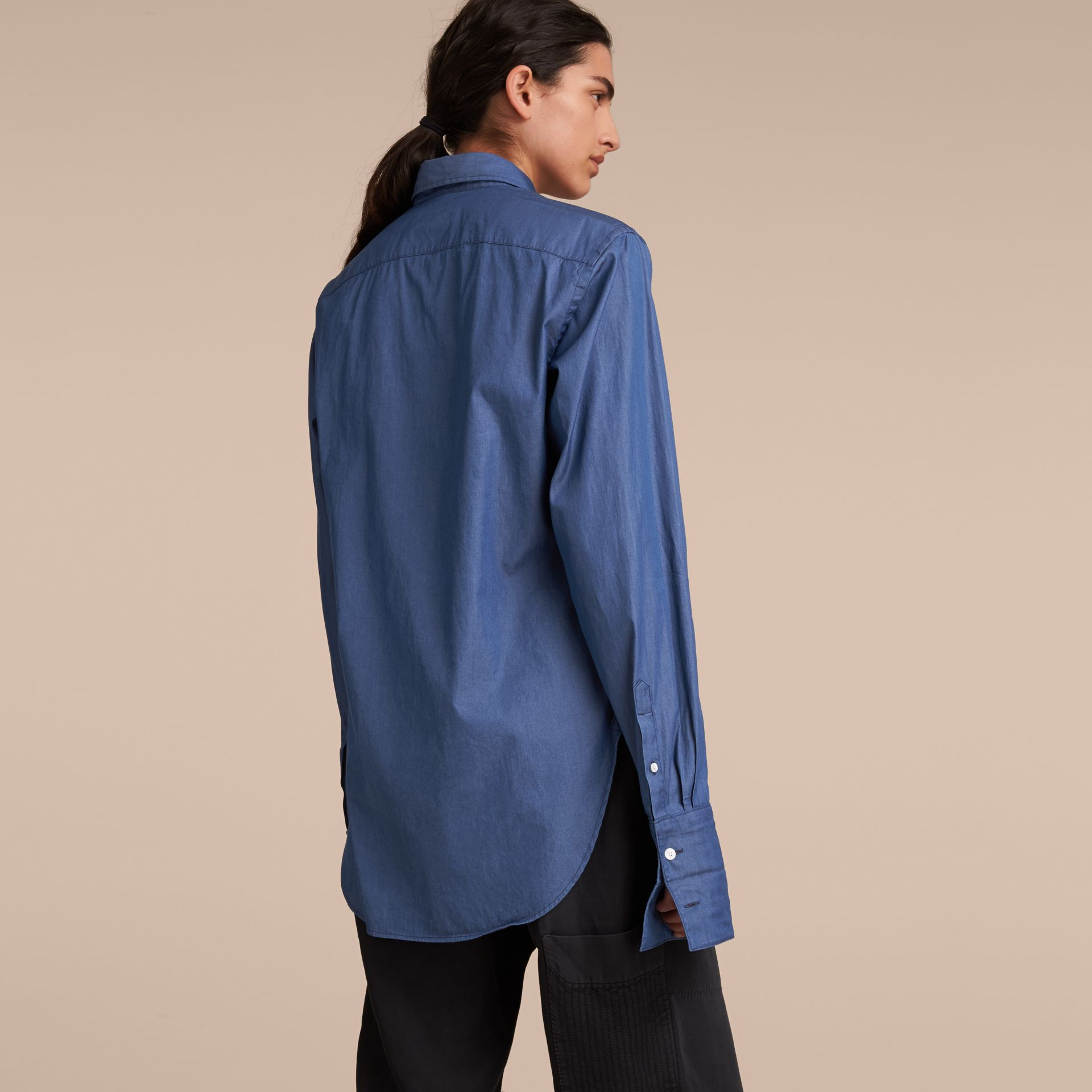 Unisex Double-cuff Pintuck Bib Cotton Shirt Denim Blue - gallery image 3