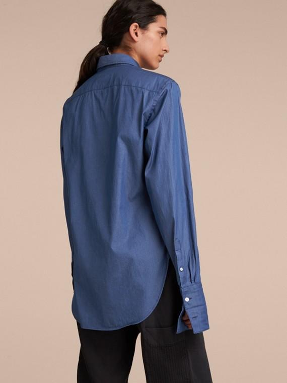 Unisex Double-cuff Pintuck Bib Cotton Shirt Denim Blue - cell image 2
