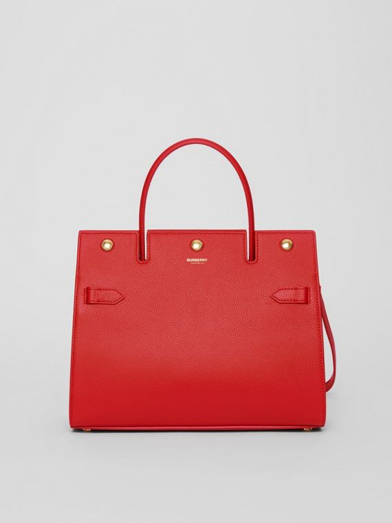Small Leather Title Bag in Bright Red