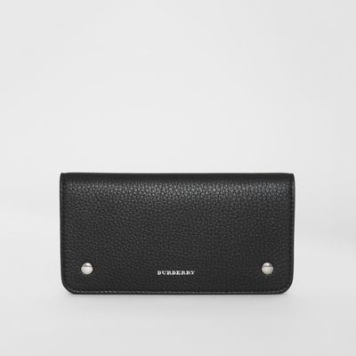 Leather Phone Wallet in Black