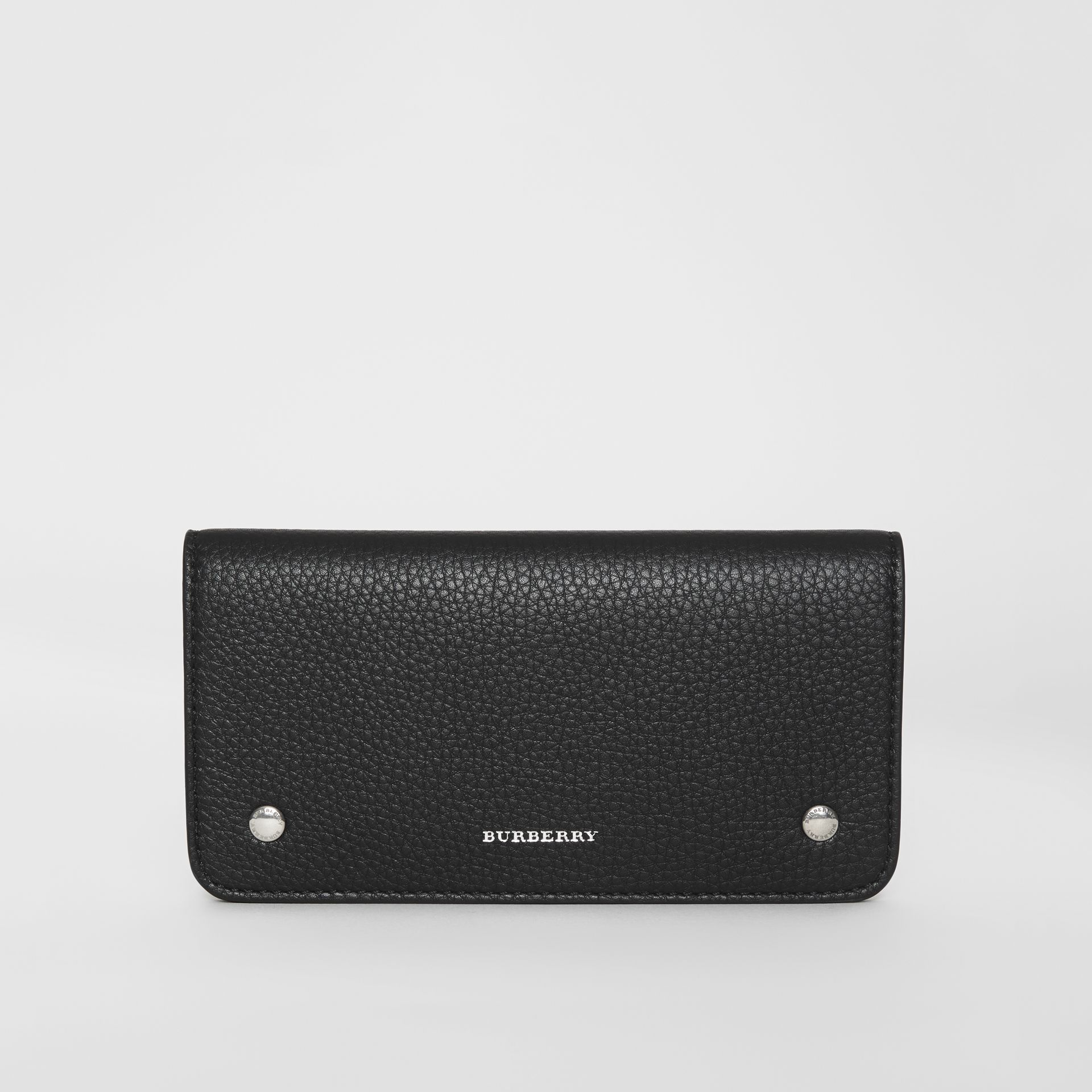 Leather Phone Wallet in Black - Women | Burberry - gallery image 0